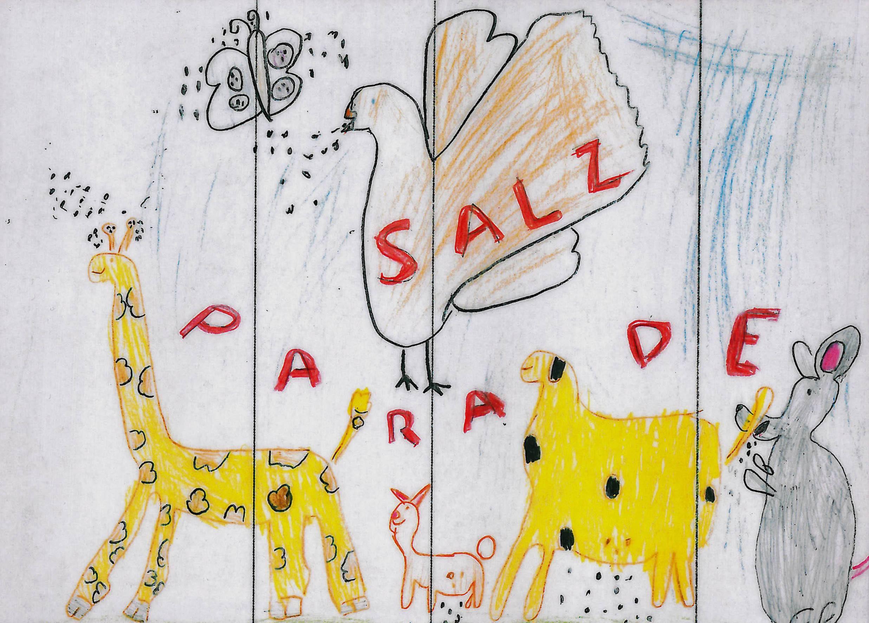 """Entwurf eines Salzpäckchens zum Thema """"miteinander-füreinander"""" von Andrea Solodov, der nur aus einzelnen Punkten besteht, die Salzkörnern gleichen.Bei diesem prämierten Entwurf lässt die sechsjährige Zeichnerin eine tierische Salz-Parade abhalten."""